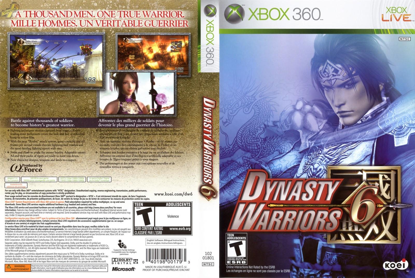 Capa Dinasty Warriors 6 Xbox 360